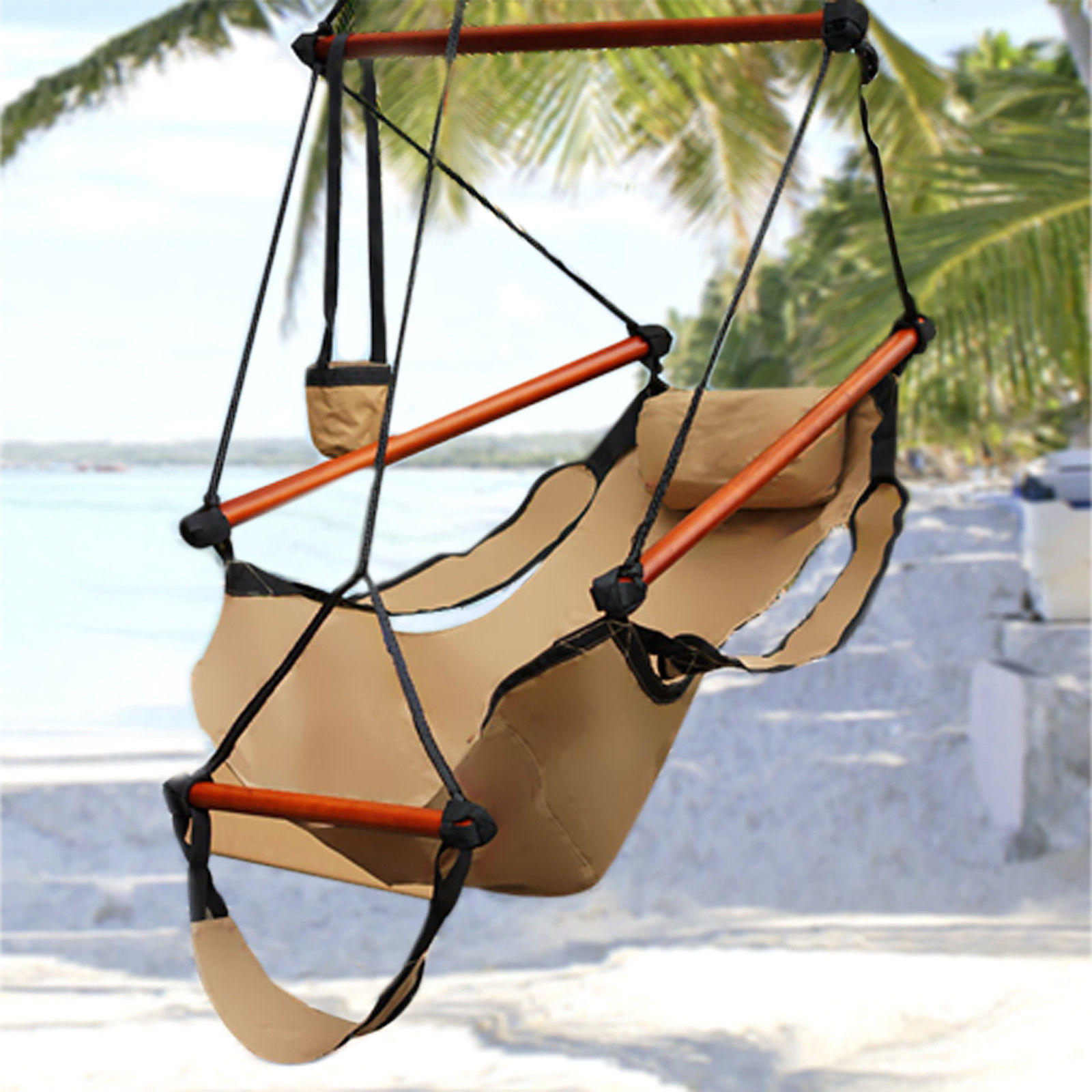$27.99 Hammock Hanging Chair Air Deluxe Sky Swing Outdoor Chair Solid Wood 250lb