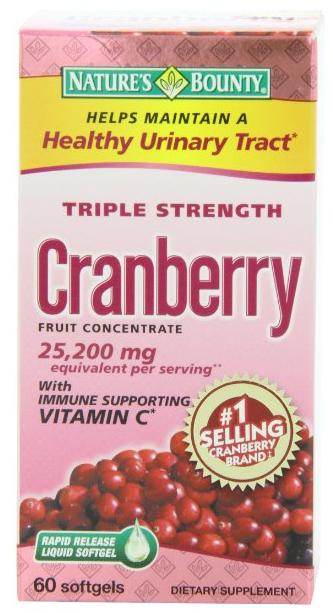 $5.38 Nature's Bounty Triple Strength Cranberry with Vitamin C, 25,200 mg, 60 Softgels