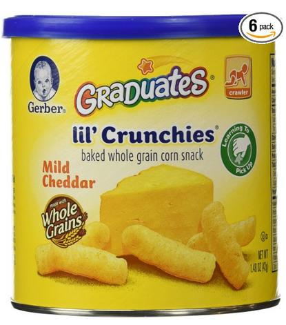 $8.93 Gerber Graduates Lil' Crunchies, Mild Cheddar, 1.48-Ounce Canisters (Pack of 6)