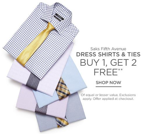 Buy1 Get 2 Free Dress Shirts and Ties @ Saks Off 5th