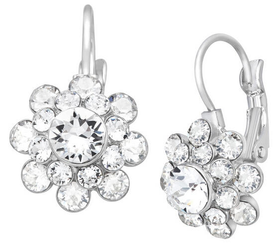 $24 Flower Drop Earrings with Swarovski Crystal