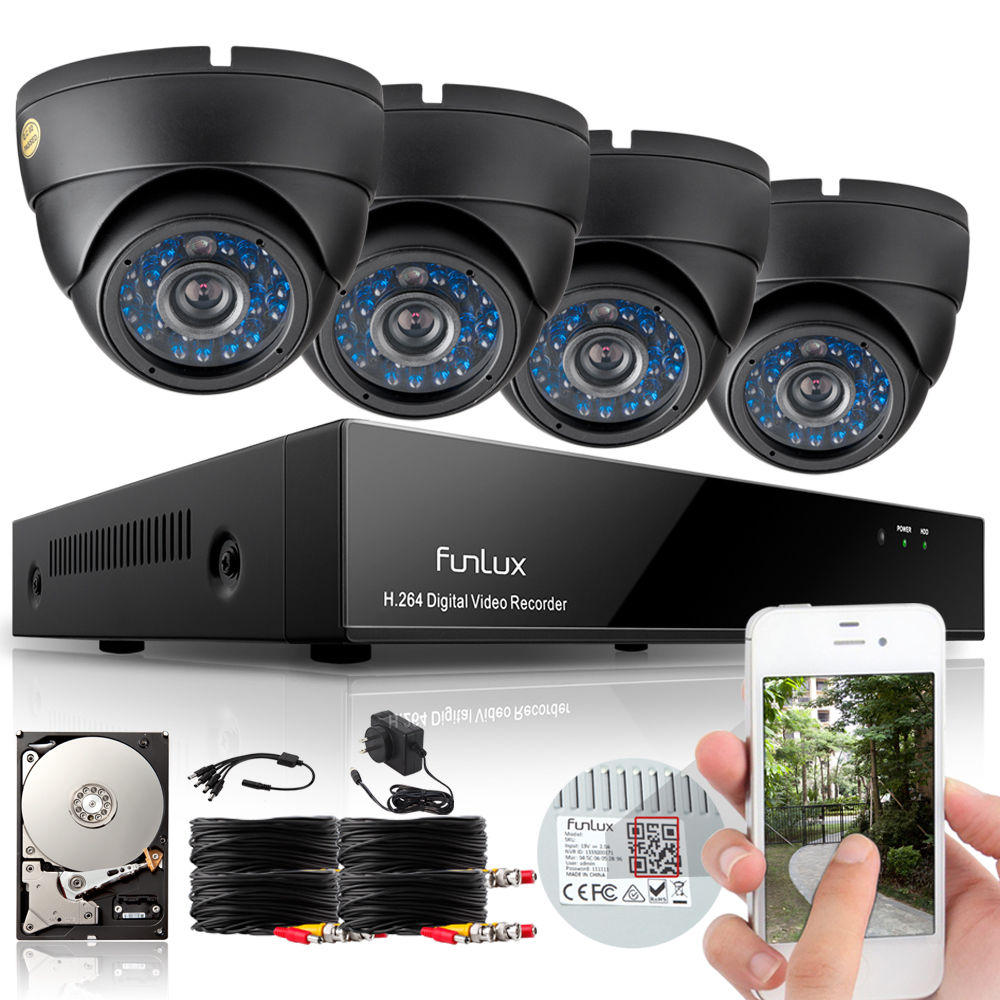 $139.98  Funlux HDMI DVR Outdoor Home Video CCTV Security Camera System with 500GB Hard Drive