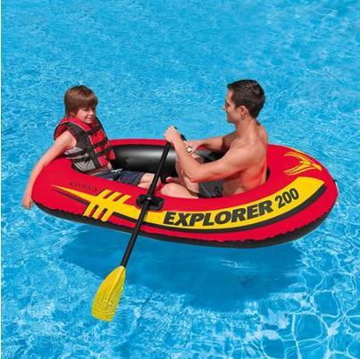 $9.75 Intex Explorer 200, 2-Person Inflatable Boat Set with French Oars and Mini Air Pump
