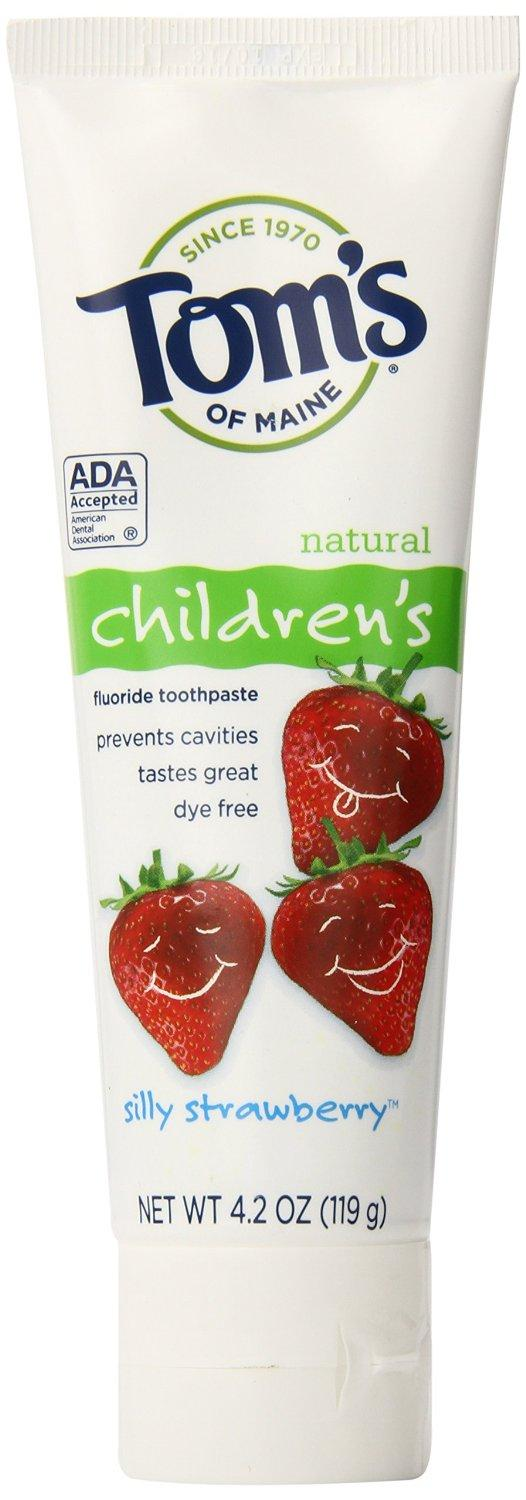 Tom's of Maine Anticavity Fluoride Children's Toothpaste, Silly Strawberry, 4.2-Ounce, 3 Piece