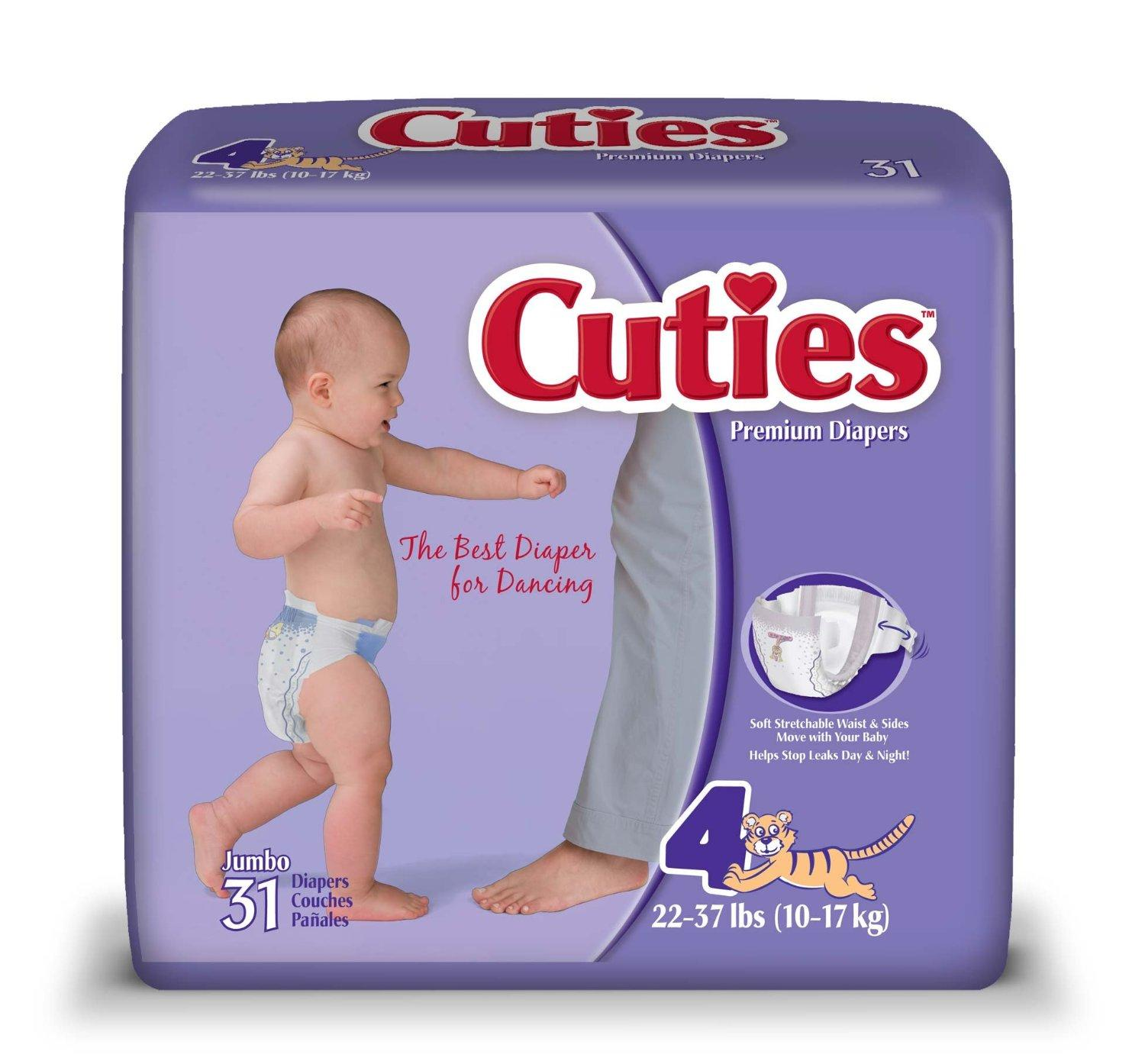 $18.14 ($0.146/count) Cuties Baby Diapers, Size 4, 31 Count (Pack of 4)