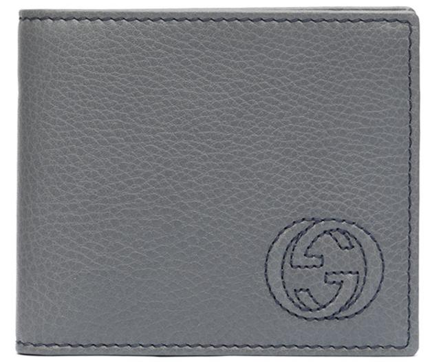 $192 Gucci Soho Leather Wallet, Silver @Neiman Marcus