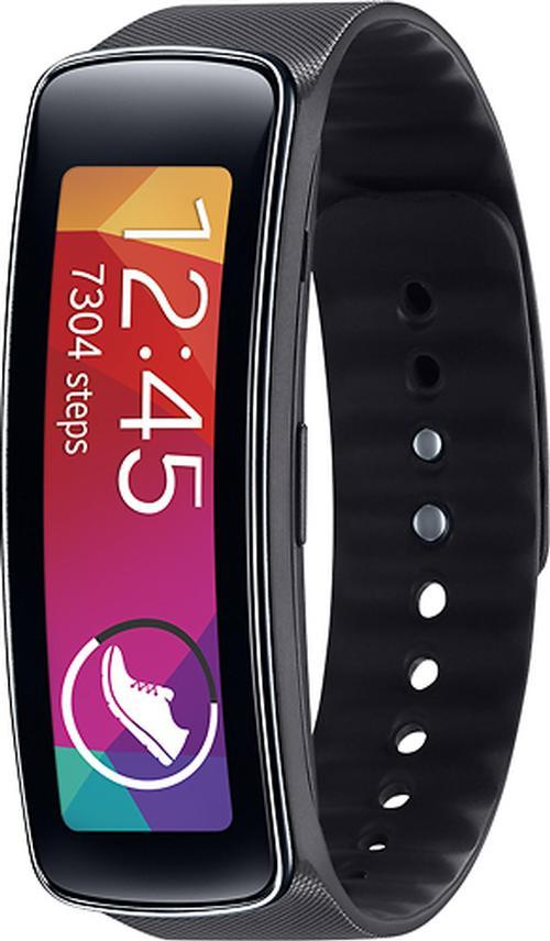 Samsung - Gear Fit Fitness Watch with Heart Rate Monitor - Black