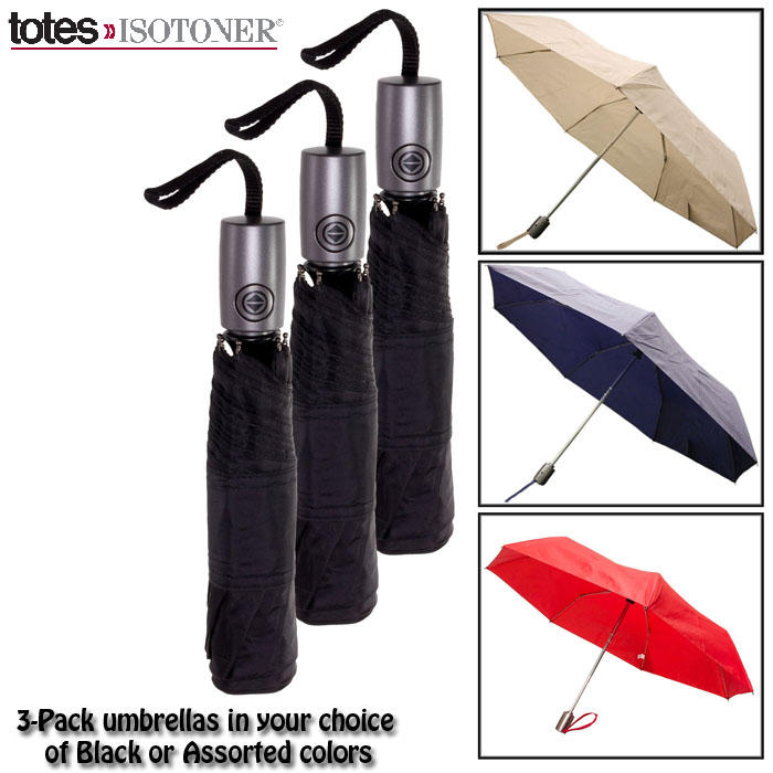 Totes 8905M Automatic Open / Close Compact Lightweight Folding Umbrella  3-Pack