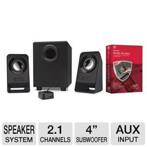 Free Logitech 2.1 Multimedia Speakers Z213 and McAfee 2015 Multi Access 1 User 5 Devices