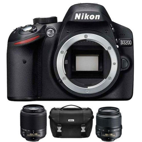 $319.99 Nikon D3200 24.2 MP SLR with18-55 & 55-200 Lenses & Case - Refurbished