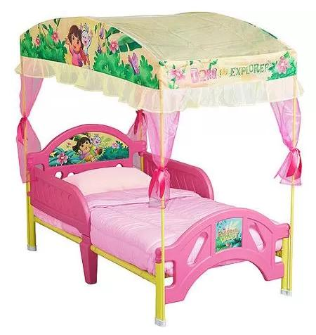$54.98 Dora the Explorer Toddler Bed with Canopy, 10th Anniversary Edition