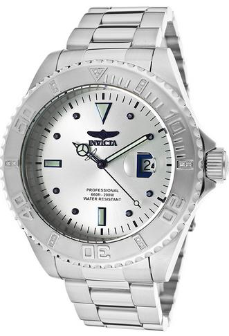 Invicta Men's Pro Diver Diamond Stainless Steel Silver-Tone Dial Watch