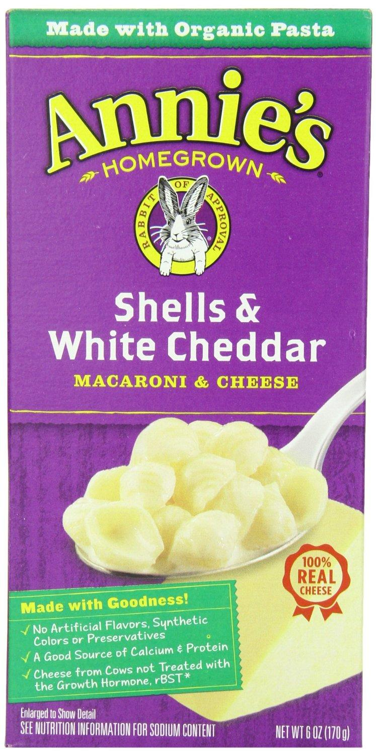 $11.94 Annie's Homegrown Shells & White Cheddar Macaroni & Cheese, 6-Ounce Boxes (Pack of 12)