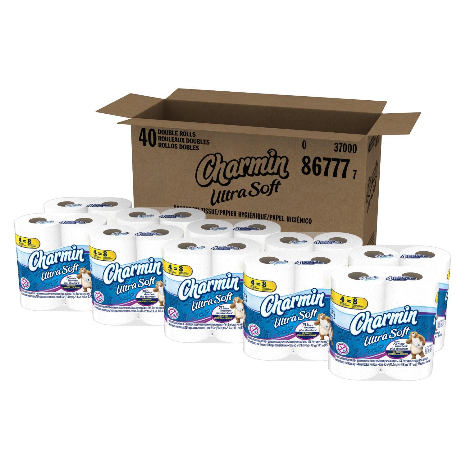 $18.87 Charmin Ultra Soft Toilet Paper (10 Packs Of 4 Double Rolls)