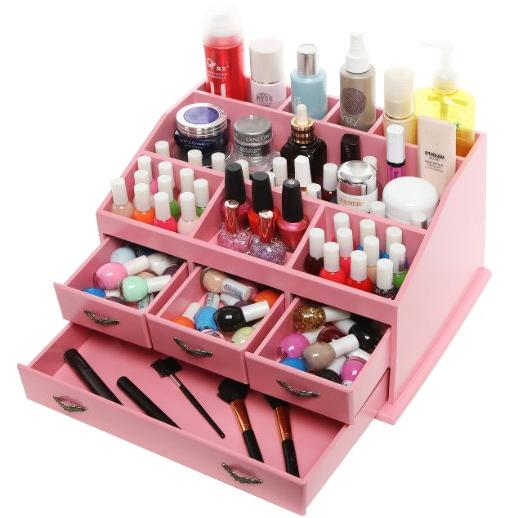 Chic Pink Shabby  Wood 8 Trays 4 Storage Drawers Organizer Display Rack