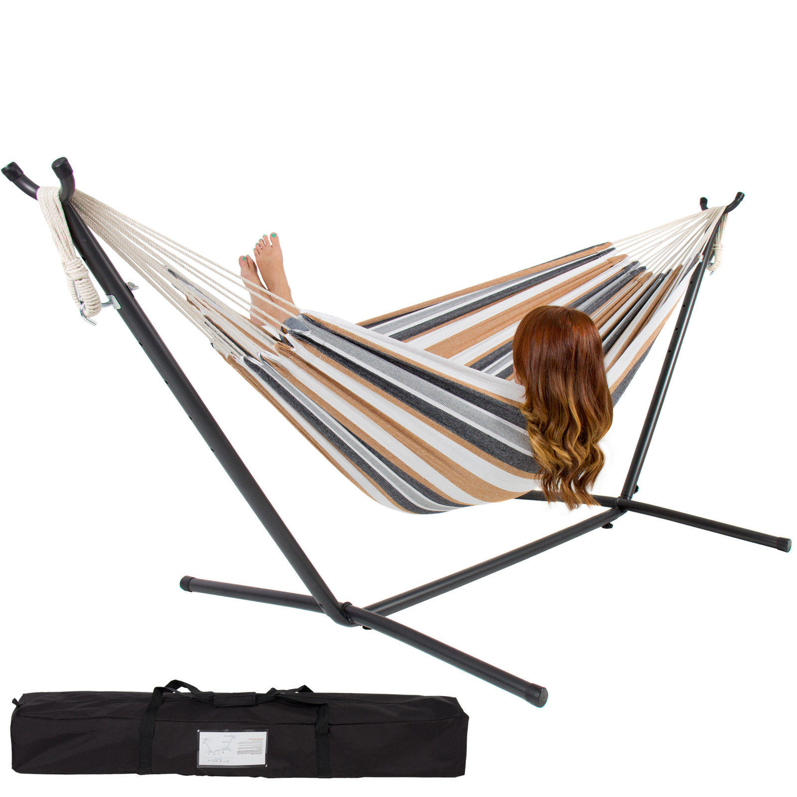 $89.99 Double Hammock With Space Saving Steel Stand Includes Portable Carrying Case