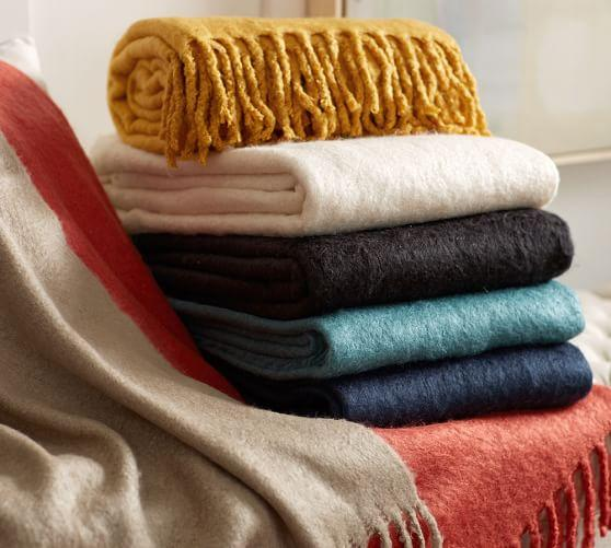 Pottery Barn Faux Solid Mohair Throw