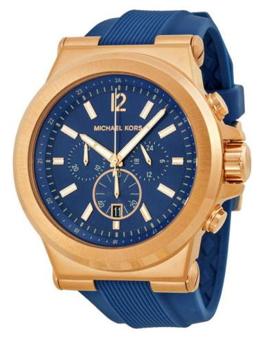 $138.99 Michael Kors Dylan Navy Dial Rose Goldtone Navy Silicone Strap Mens Watch MK8295