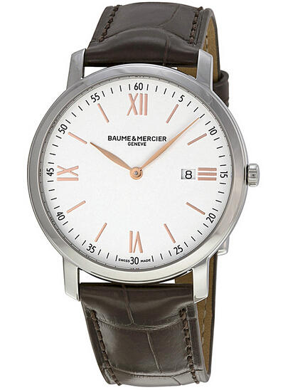 Baume and Mercier Classima Silver Dial Brown Leather Men's Watch