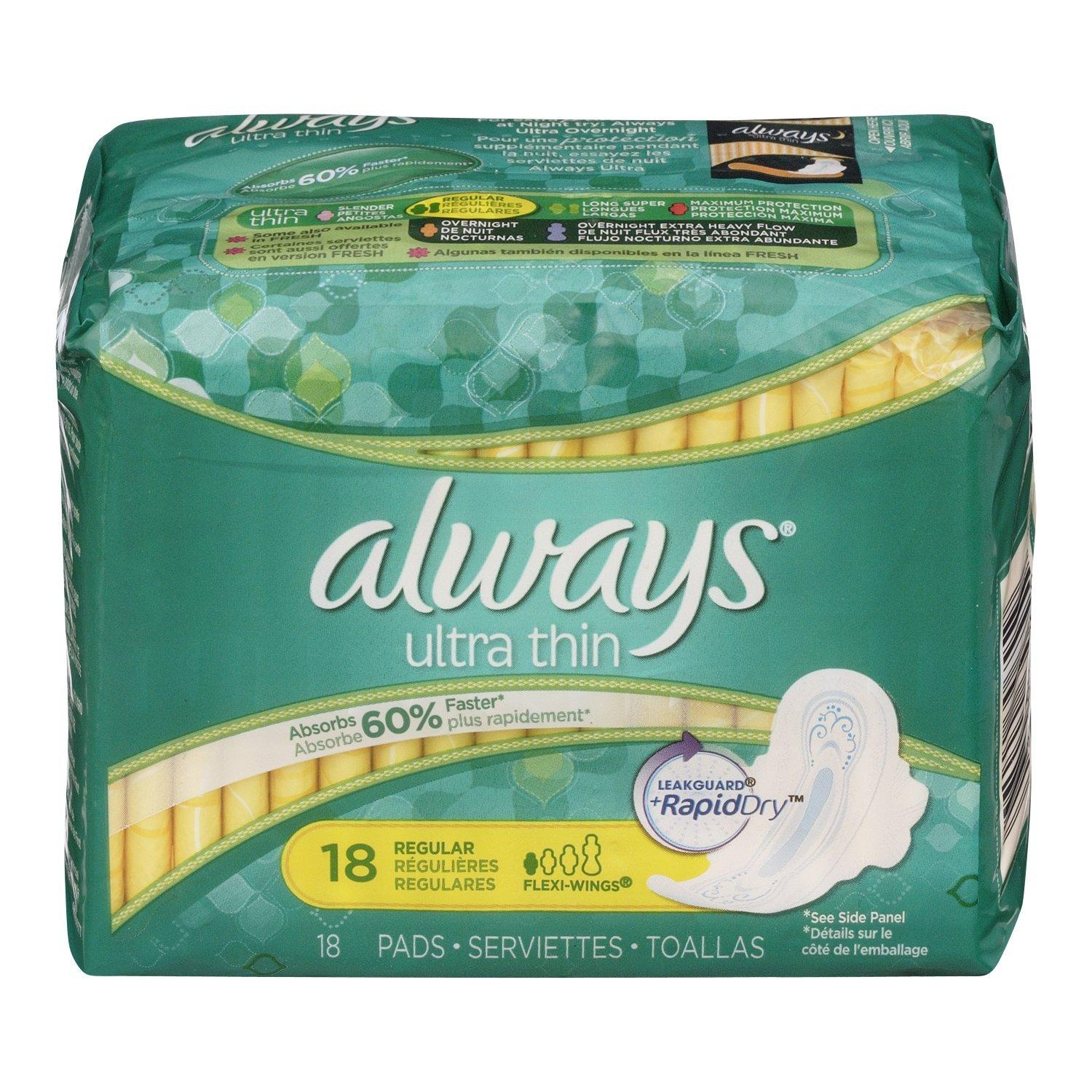 $2.84 Always Ultra Thin Unscented Pads with Wings, Regular, 18 Count