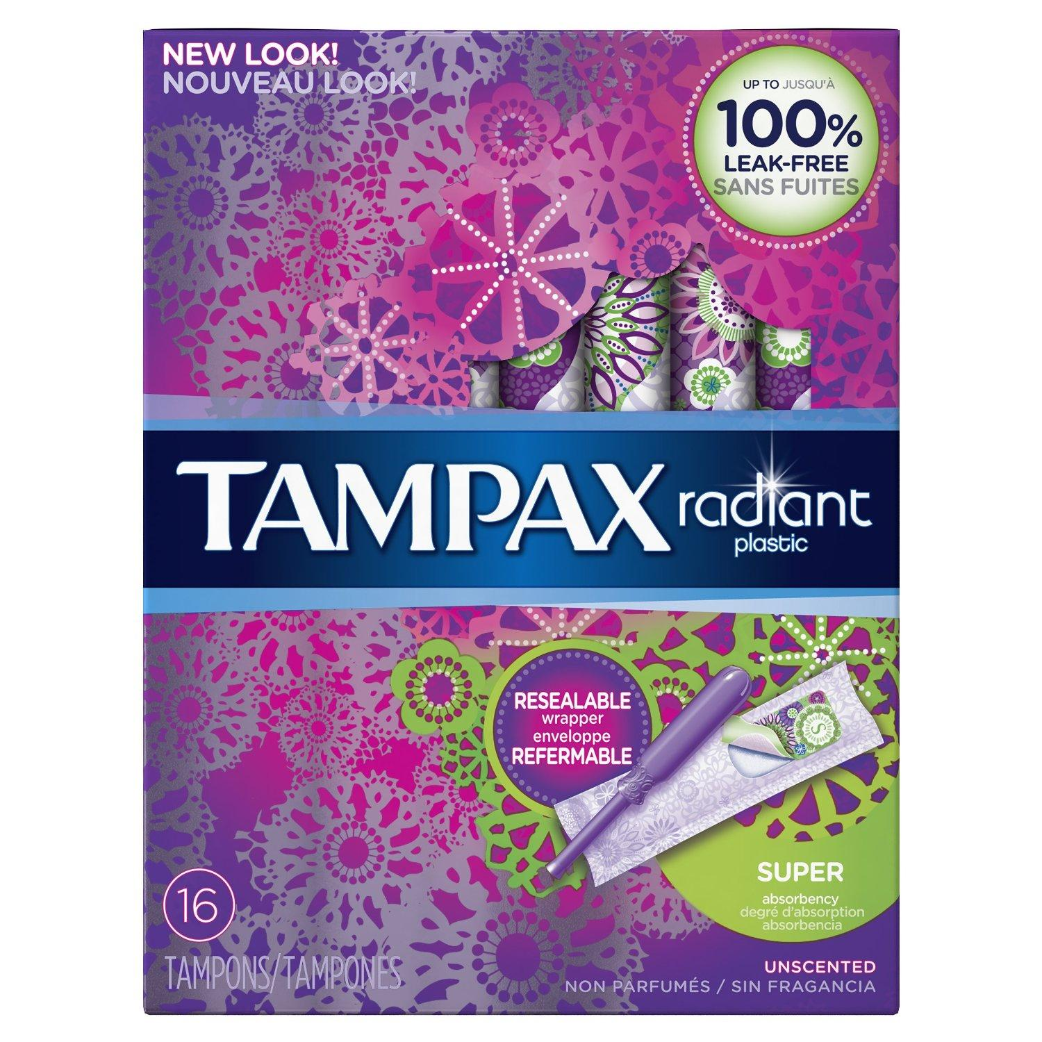 $2.97 Tampax Radiant plastic Super absorbency unscented tampons 16ct