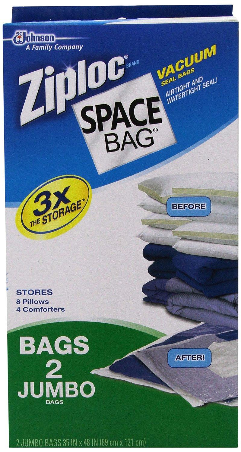 "$13.45 Ziploc Space Bag, 2 Jumbo Vacuum Seal Storage Bags, Each, Clear, (35"" X 48"")"