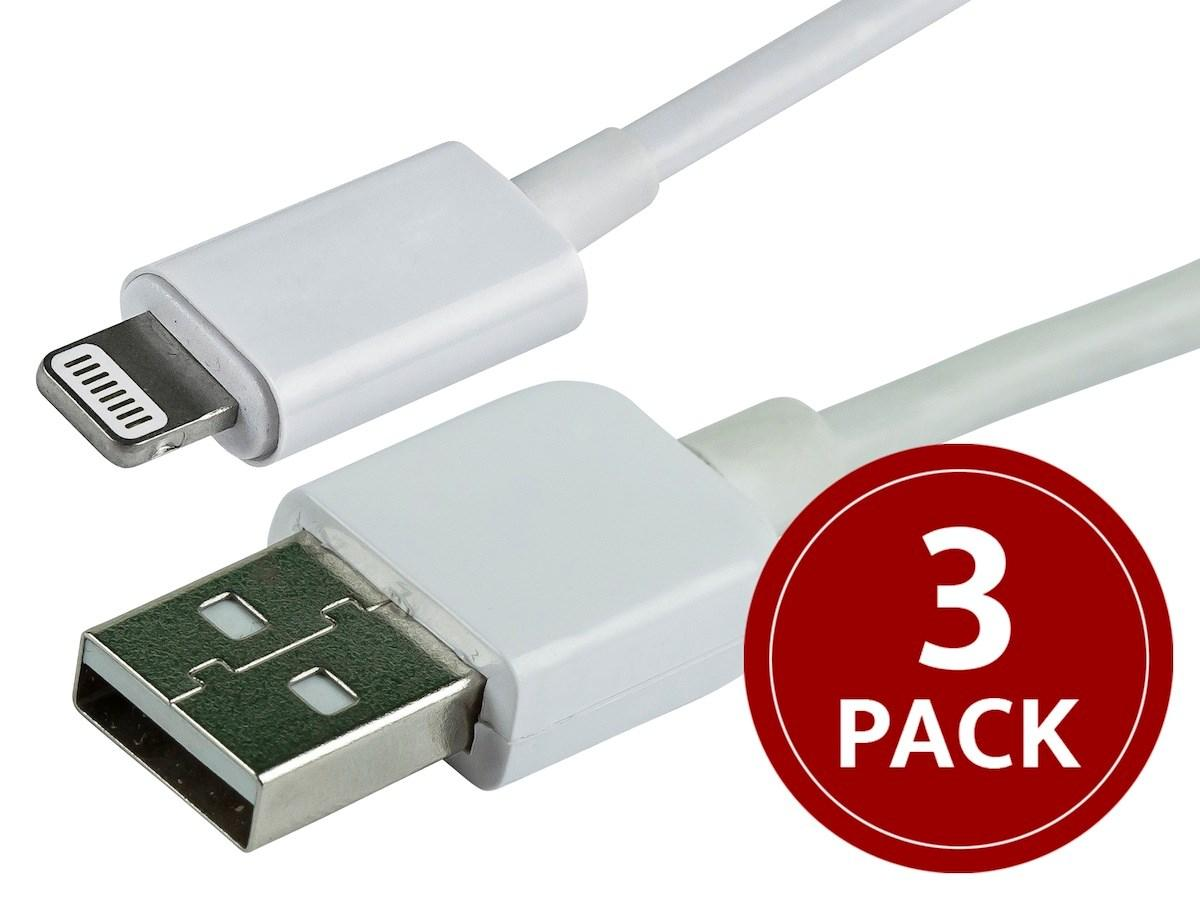 3-Pack of 3' Monoprice Apple MFi USB to Lightning Cable