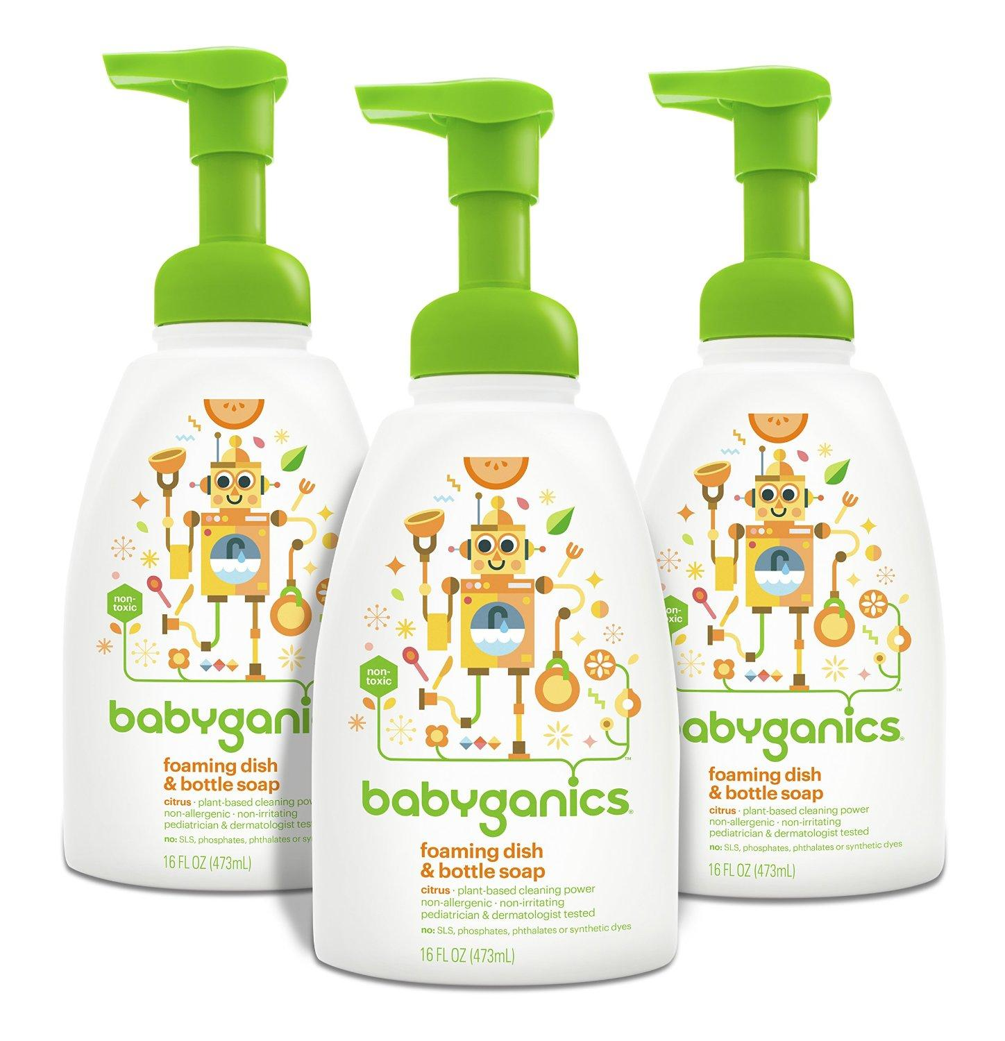 Babyganics Foaming Dish and Bottle Soap, Citrus, 16oz Pump Bottle (Pack of 3)
