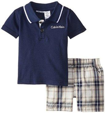 $15.7 Calvin Klein Baby Boys Navy Polo Top with Shorts