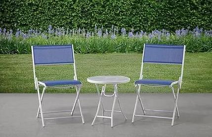 $35 Mystique Cove 3-Piece Folding Outdoor Bistro Set, Blue