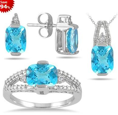 $29 5.75 Carat Genuine Swiss Blue Topaz and Diamond Matching Ensemble in .925 Sterling Silver