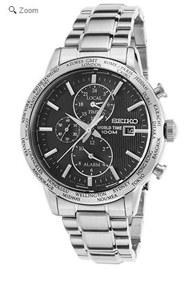 Seiko Men's World Time GMT Chronograph Stainless Steel Black Dial Watch @ The Watchery
