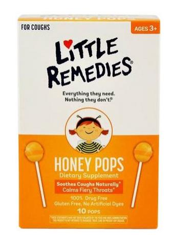 $3.79 Little Remedies Honey Pops Lollipop, Natural Honey, 10 Count