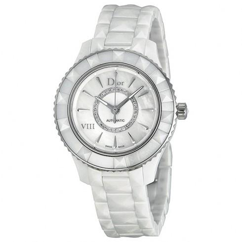 Christian Dior VIII White Diamond-set Dial White Ceramic Ladies Watch