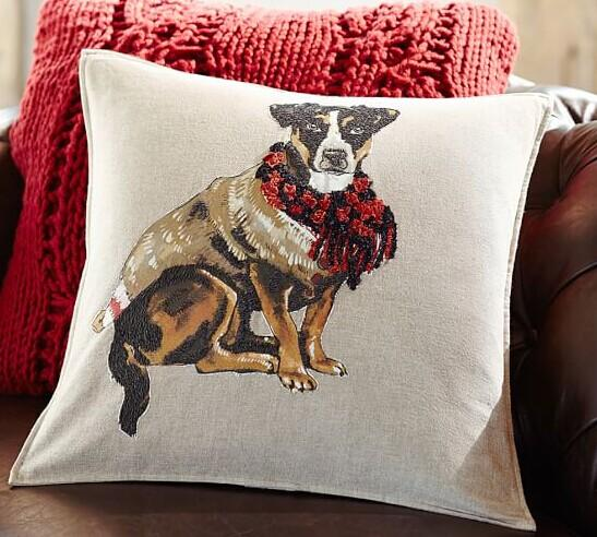 Painted Terrier Dog Embroidered Pillow Cover