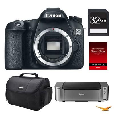 Canon EOS 70D DSLR Camera (Body) 32GB Printer Bundle