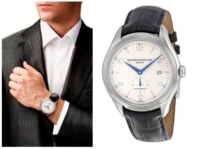 $999.99 Baume And Mercier Clifton Silver Dial Black Leather Automatic Mens Watch 10052