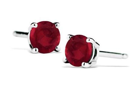$171/2 Carat Natural 4MM Ruby Stud Earrings in .925 Sterling Silver @ Szul.com