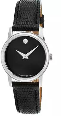 Movado Women's Museum Black Genuine Leather Black Dial Watch 2100004