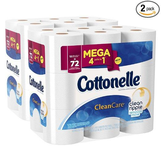 $17.66 Cottonelle Clean Care Mega Roll Toilet Paper, 18 Count (Pack of 2)