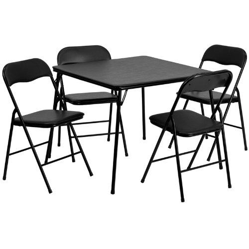 $59.99 Flash Furniture 5-Piece Folding Card Table and Chair Set, Black