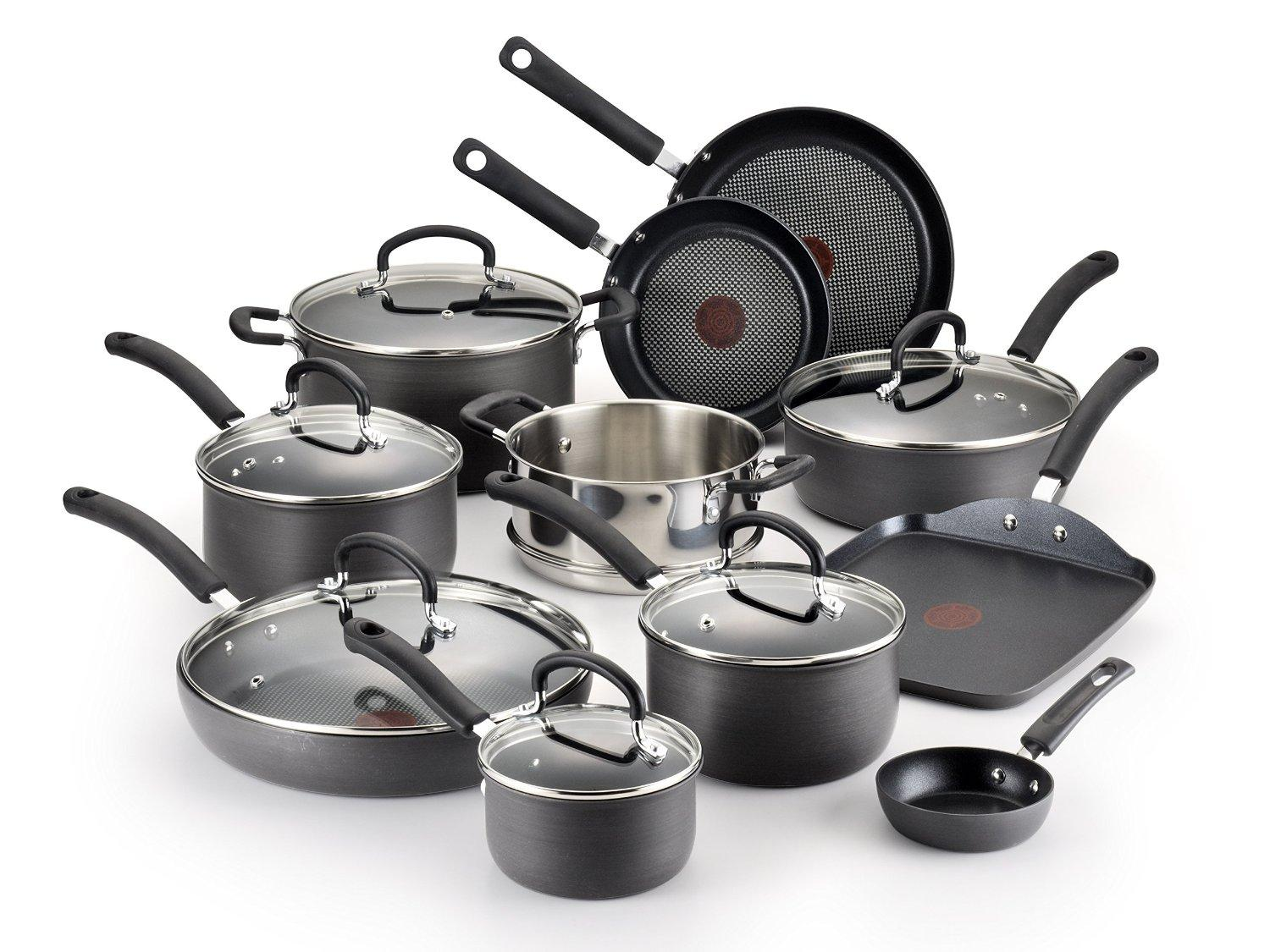 Lowest price! T-fal E918SH Ultimate Hard Anodized Nonstick Dishwasher Safe Oven Safe Cookware Set, 17-Piece