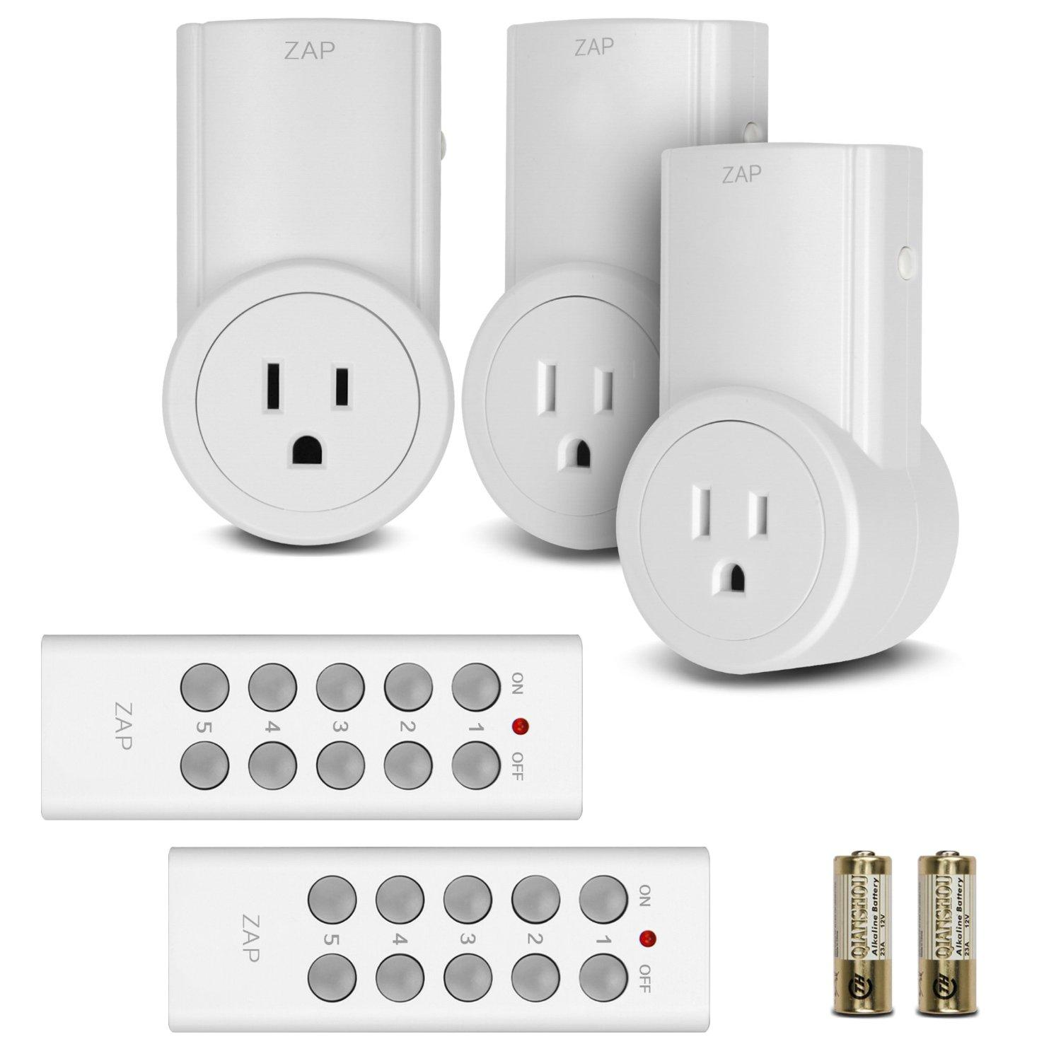 Etekcity® 3 Packs Wireless Remote Controlled Electrical Outlet Light Switch with 2 Remotes