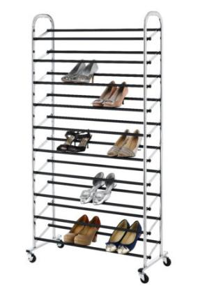 $29.99 50 Pair Free Standing 10 Tier Shoe Tower Rack Chrome Metal Shoe Rack S59