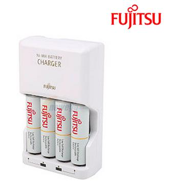 Fujitsu 4-Slot AA/AAA Ni-MH Battery Charger with 4-Pack AA 2100 Cycle Ni-MH Pre-Charged Rechargeable Batteries (FCT343-AUFX)