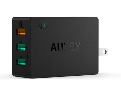 Aukey Quick Charge 2.0 42W 3-Port USB Wall Charger with 3.3 Ft. Micro USB Cable (PA-T2)