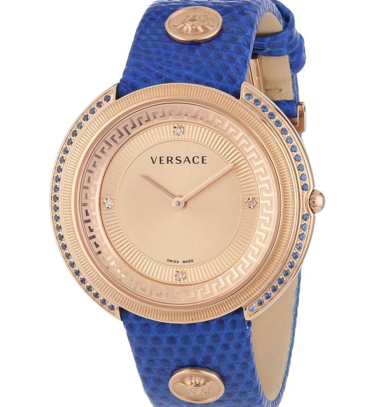 "Versace Women's ""Thea"" Diamond and Sapphire-Accented Gold Ion-Plated Watch"