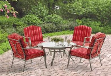 $198 Mainstays Warner Heights 5-Piece Patio Conversation Set, Red, Seats 4