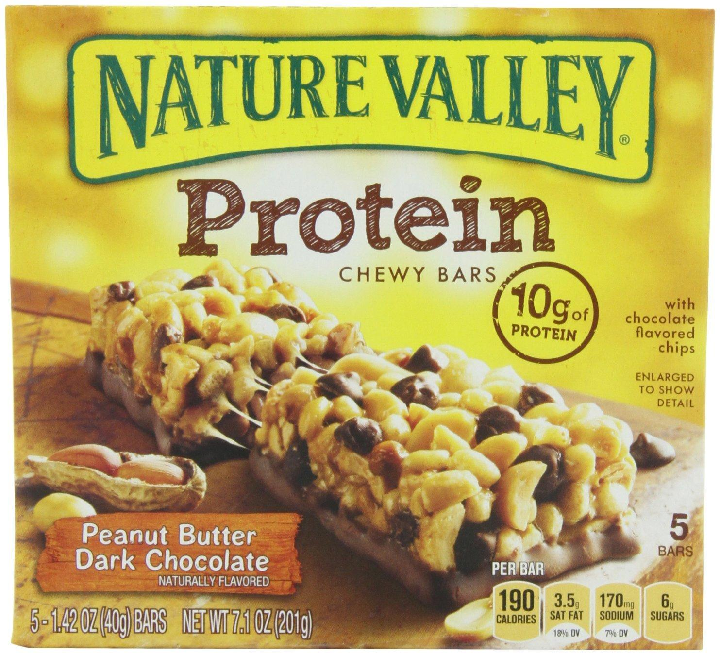 Nature Valley Chewy Protein Bars Peanut Butter Dark Chocolate, 5X1.42 Oz Bars (Pack of 4)