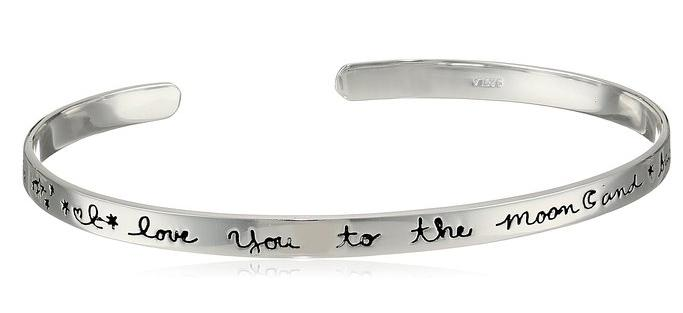 "Sterling Silver ""I Love You To The Moon and Back"" Cuff Bracelet, 2.5"""